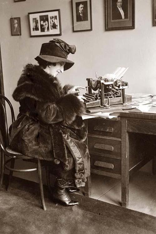 Typing away.